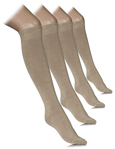 - Women Knee High Dress Socks Comfort Seam (Beige, Shoe size: 8-11)