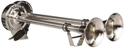 Seachoice 14561 Stainless Steel Dual Trumpet Horn, Vibration-Free Mounting Pad, 20-3/4 Inches Long, 12V