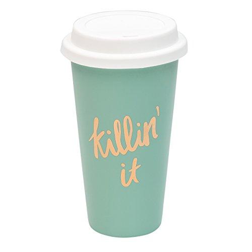 Killin' It Teal Blue 15 Oz Thermal Porcelain Coffee - Killin It