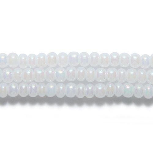 - Preciosa Ornela Czech Seed Bead, Pearl White Aurora Borealis Finish, Size 6/0