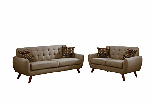 Poundex F6912 Bobkona Sonya Linen-Like 2 Piece Sofa and Loveseat Set, - Room Ash Loveseat Living