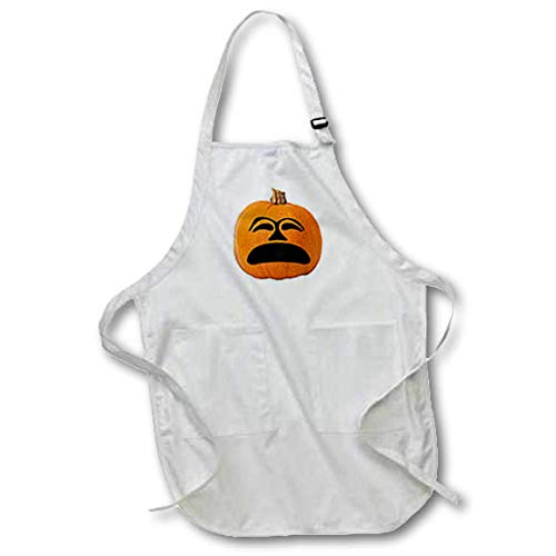 (3dRose Sandy Mertens Halloween Food Designs - Jack o Lantern Unhappy Sad Face Halloween Pumpkin, 3drsmm - Full Length Apron with Pockets 22w x 30l)