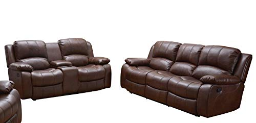 Betsy Furniture 2PC Bonded Leather Recliner Set Living Room Set, Sofa Loveseat Chair Pillow Top Backrest and Armrests 8018 (Brown, Living Room Set 3+2) (Leather Set Sofa Loveseat Furniture And)