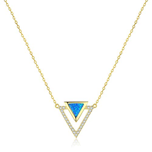 OEFCAN Opal Necklace Triangle Dainty Necklace for Woman Girls Gifts for Her 14k Gold Plated 925 Sterling Silver Fashion Jewelry