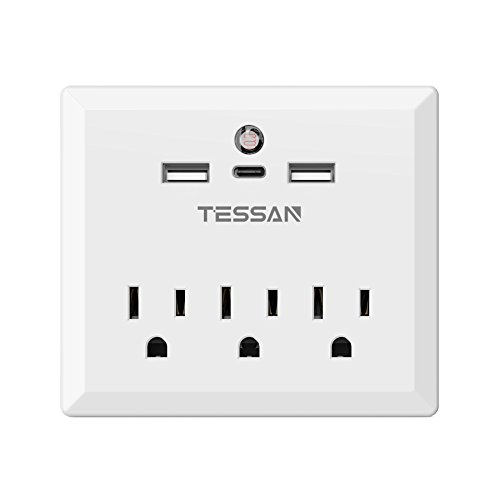 TESSAN Wall Mount 3 AC Outlets with 2 USB + 1 Type-C Port (Total 5A/25W) and Auto Sensor Night Light, Fast Charging, Power Strip (1 Outlet Wall Mount)