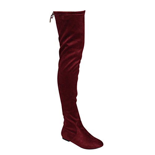 NATURE BREEZE FD72 Women's Stretchy Thigh High Over The Knee Flat Heel Boot, Color:WINE, Size:9 (Red Flat Boots)