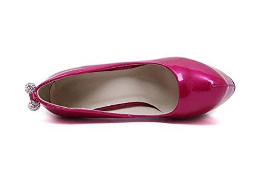 Femmes Court Chaussures Fermé-orteils 14Cm Ultra haut-talon caché Platform Party Chaussures , rose red , 37