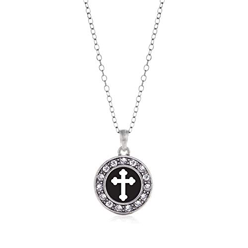 Inspired Silver - Vintage Cross Charm Necklace for Women - Silver Circle Charm 18 Inch Necklace with Cubic Zirconia Jewelry
