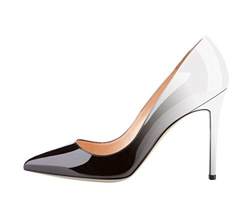 Patentes multicolor color aguja Zapatos de Negro corte SexyPrey mujer y de más Tacones tamaño gris estrecha en Punta de pX8n8fIdqw