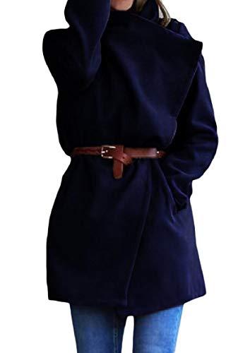 Lana Scuro Women Turn Blu Con Color Giacca Parka down Fit Di Collar Rkbaoye Tinta Unita Relaxed v1AZqfAw