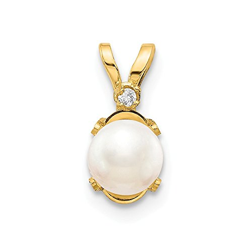 14k Yellow Gold Diamond Freshwater Cultured Pearl Birthstone Pendant Charm Necklace June Oval Fine Jewelry Gifts For Women For Her