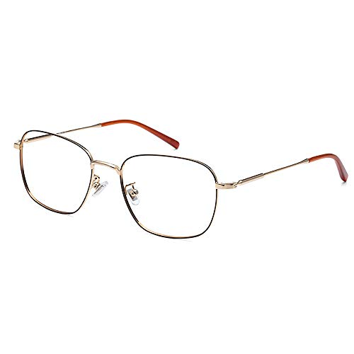 Men's Blue Blocking Glasses,Anti Eyestrain Anti Glare Lens Anti Blue Ray Computer Game Glasses Women Gaming Plain Mirror,Gold by OLDF (Image #8)