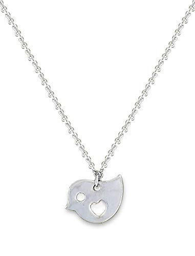 (Adastra Jewelry 925 Sterling Silver White Gold Plated Bird Pendant Heart Shape Chain Necklace)