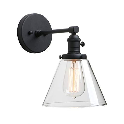 "Phansthy Black Industrial Wall Sconce Light Single Light Wall Lamp with 7.3"" Cone Canopy for Bathroom Kitchen Restaurant (Black)"