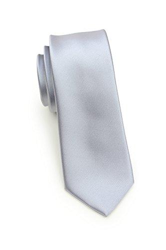 (Bows-N-Ties Men's Solid Color Skinny Satin Necktie 2.25 Inches Microfiber Tie (Shiny Silver))