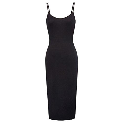 Spaghetti Strap Maxi Long Cami Slip Dress Liner for Women Black,XL KK881-1