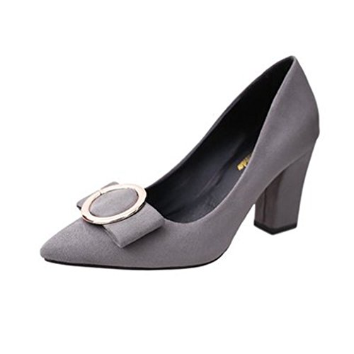 Giy Femmes Robe Pompes Mocassins En Daim Pointe Toe Slip-on Boucle Bloc Talon Mode Classique Loafer Pompe Gris