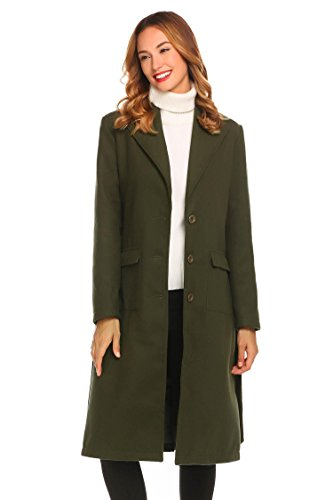Misakia Women's Women's Notched Lapel Double Breasted Trench Coat(Army Green,S)