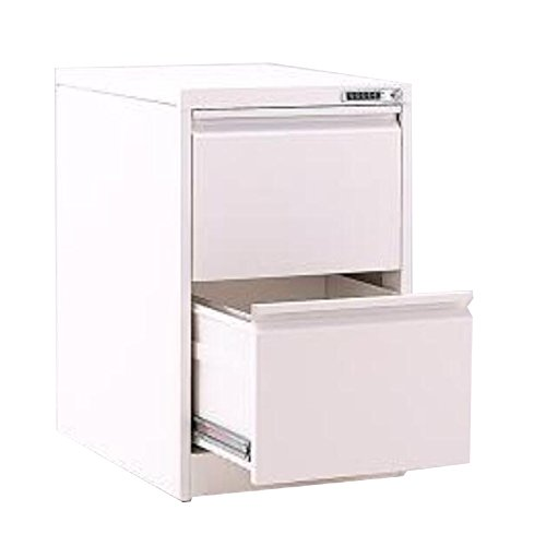 FLYHIGH Lateral Drawer Filing Cabinet 2 Drawers with Coded Lock in White Color