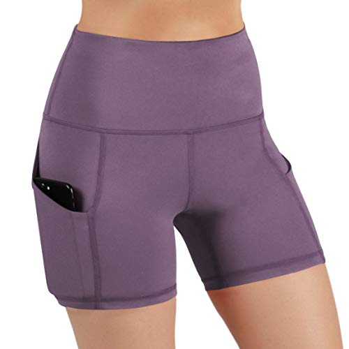 ODODOS High Waist Out Pocket Yoga Short Tummy Control Workout Running Athletic Non See-Through Yoga Shorts,Lavender,X-Small
