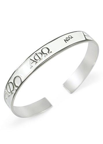 The Collegiate Standard Alpha Phi Omega Bangle Cuff Bracelet (White)