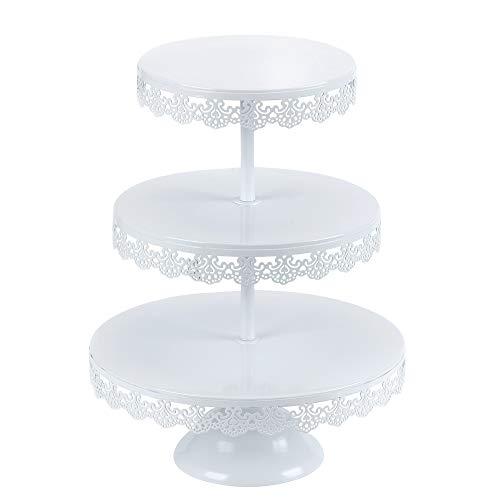 VILAVITA 3-tier Round Cupcake Stand Dessert Tower Iron Cupcake Holder Display Stand for Wedding Birthday Party Celebration, White