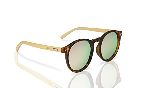Polarized Round Bamboo Sunglasses: For Men and Women, UV Protection with Wooden Arms, Oversized by Reys (Image #1)