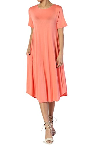 TheMogan Women's Short Sleeve Pocket A-line Fit and Flare Midi Dress Coral M