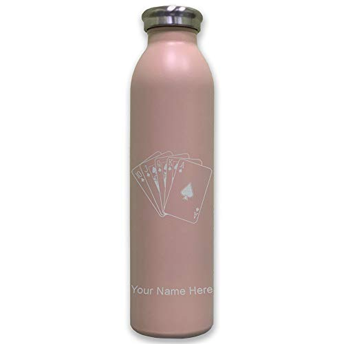 (Lasergram Sports Water Bottle, Royal Flush Poker Cards, Personalized Engraving Included (Pink))