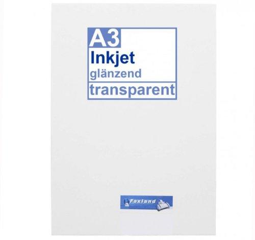 Inkjet Klebefolie 10 x DIN A3 transparent glänzend, klar - Glasklar - Druckerfolie zum bedrucken mit Tinte