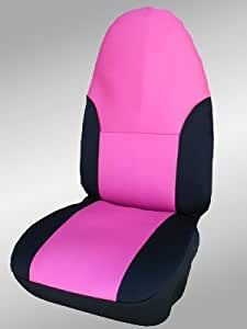 neoprene seat covers 2 front universal buckets black w pink insert made in the. Black Bedroom Furniture Sets. Home Design Ideas
