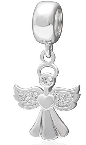 Winged Angel Charm Faith Charm Sterling Silver Religion Charm Bead fits All Charm Bracelets Women Girls Birthday Gifts EC512 ()