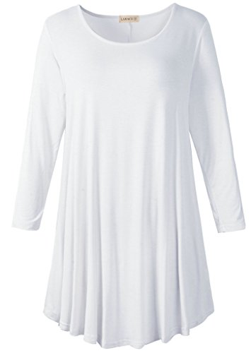 LARACE Women 3/4 Sleeve Tunic Top Loose Fit Flare T-Shirt(M, White)