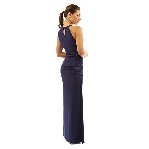 Manches Color Color L Size lgante Robe Navy Blue sans Nhatycir Couleur Femme Navy Jupe perle Robe Unie Color lgante Blue aqZH8