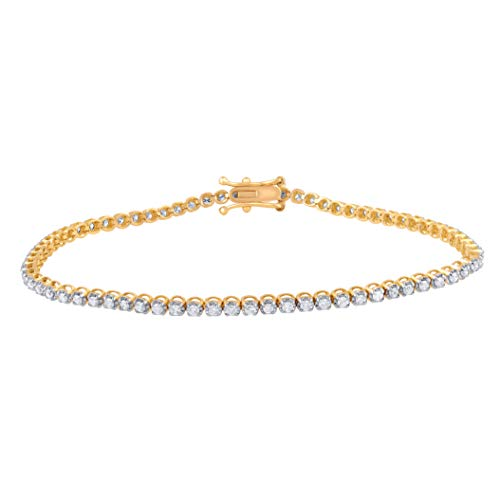 1.00 Carat Natural Diamond Bracelet 18K Yellow Gold (G-H Color, I3 Clarity) Stylish Diamond Tennis Bracelet for Women Diamond Jewelry Gifts for Women - Gold Diamond Fashion Bracelet