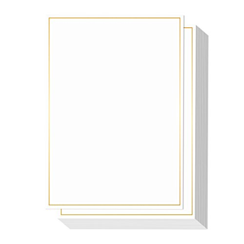 - 50 Pack Metallic Gold Foil Border Invitation Paper - Certificates, Announcements, Personal Messages, Awards, Stationery, Envelopes Included - 5 x 7 inches