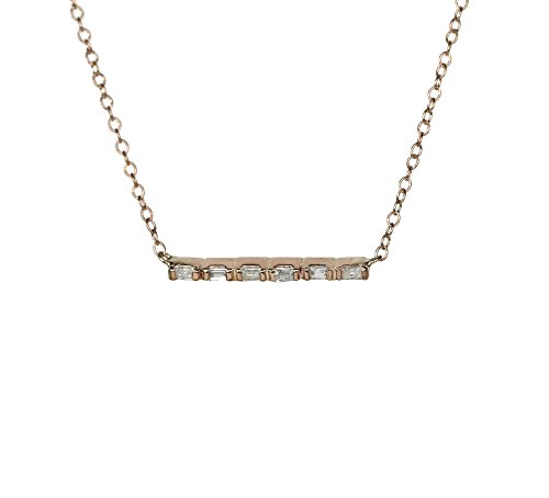 Genuine Diamond Baguette Bar Necklace 14K Rose Gold Adjustable Length