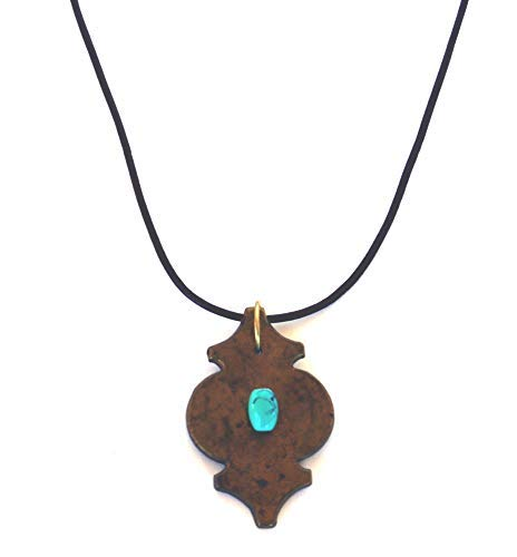 Brass Turquoise Bead Necklace Urn Leather Cord Copper Recycled Upcycled
