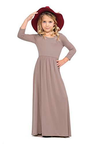Brown Girls Dress (Pastel by Vivienne Honey Vanilla Girls' Fit and Flare Maxi Dress Small 5-6 Years)