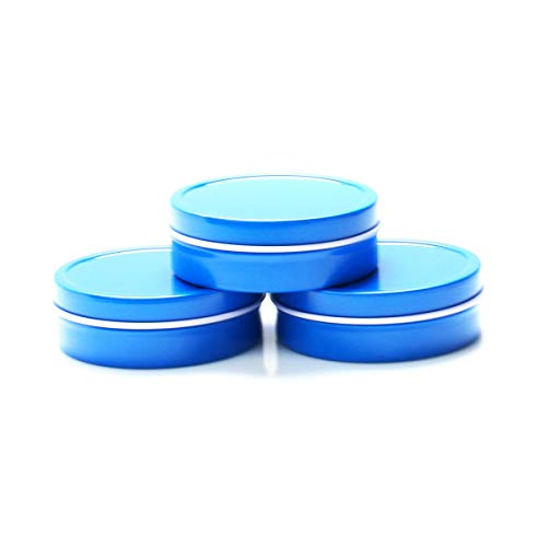 Mimi Pack 3 oz Shallow Round Metal Tin Can Empty Slip Top Lid Steel Containers For Cosmetics, Favors, Spices, Balms, Gels, Candles, Gifts, Storage 24 Pack (Blue) ()