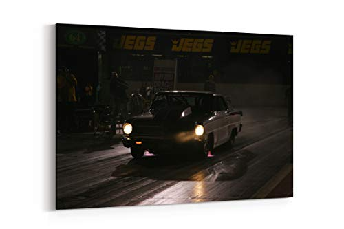 Hot Rod Rods Drag Race Racing Chevrolet Nova Night Lights D - Canvas Wall Art Gallery Wrapped 40