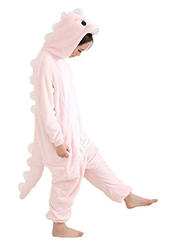 Pink Soft Costumes (Juxy Couture Adult Pink Dinosaur Ultra Soft Comfy Plush One Piece Pajama Costume for Halloween and Christmas)