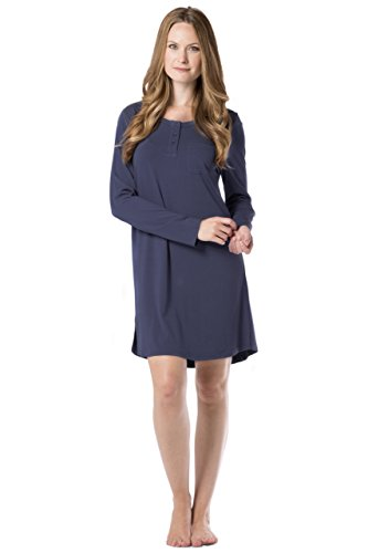 Fishers Finery Women's Henley Nightshirt; Long Sleeve; Above Knee (Navy, ()