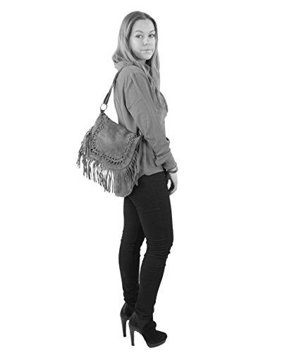 histoireDaccessoires - Bolso con Bandolera de Cuero de Mujer - SA145023GR-Marisa NegroNegro