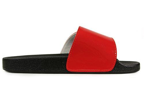 Glid Sandaler För Kvinnor, Kvinnor Ecladea Bekväma [vattentät] Mode Slip-on Glid Sandaler [platta Tofflor] Justerbar Vristrem Med Krok-och-ögla Stängning [70057], Röd Glänsande Storlek 5 [oss Storlek]