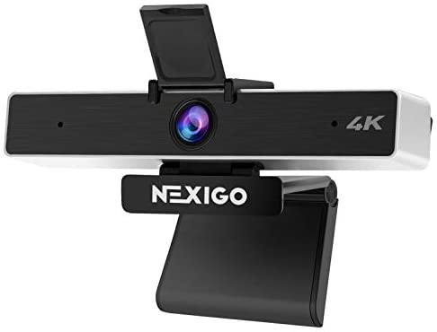4K Webcam with 5X Digital Zoom, 2021 NexiGo N950 Pro Webcam with 8.5MP Sony Senor and Dual Stereo Microphone, Light Correction for Zoom Skype MS Teams, Laptop MAC PC Desktop