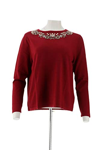 Curations Beaded Sweater RIO RED XS NEW 619-329 (Curations)