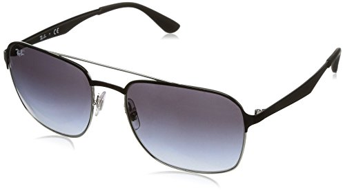 Ray-Ban Metal Unisex Square Sunglasses, Silver Top Black, 58 - Top Flat Ray Ban