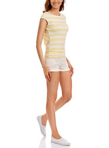 oodji Collection Mujer Camiseta de Tirantes a Rayas Amarillo (1050S)