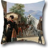 - artistdecor Pillow Cases of Oil Painting Henri Pierre LÃon Pharamond Blanchard - The Smugglers,for Her,Couch,Couples,boy Friend,Bedding,car Seat 16 X 16 Inches / 40 by 40 cm(Double Sides)